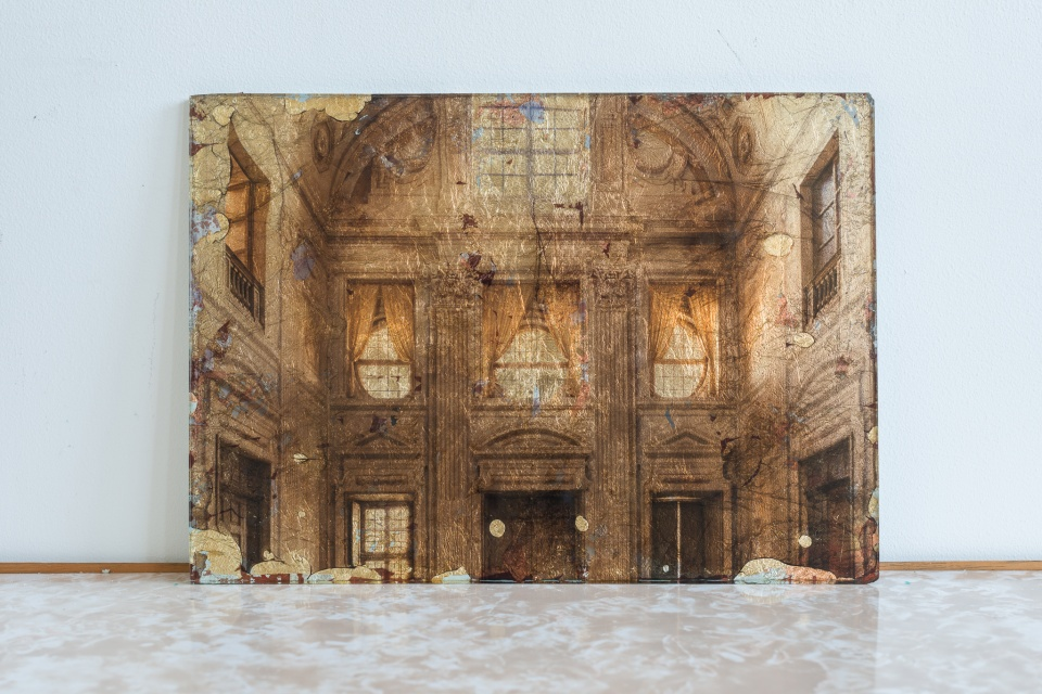Palace on glass with gold leaf